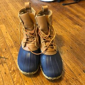 "LL Bean ""bean boots"" navy brown leather Boot sz 9"